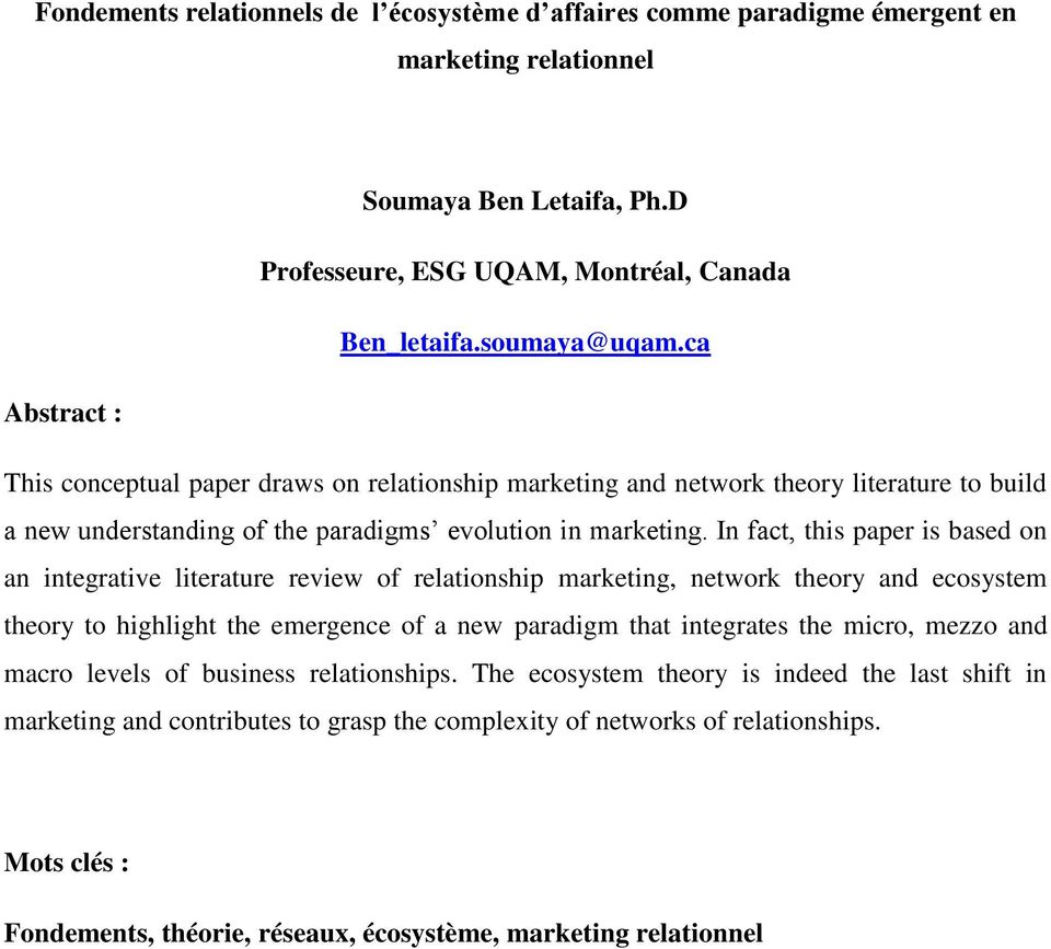 Relationship marketing literature review