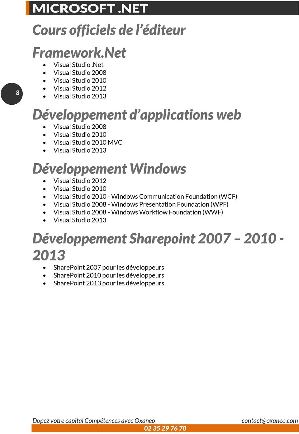 2010 MVC Visual Studio 2013 Développement Windows Visual Studio 2012 Visual Studio 2010 Visual Studio 2010 - Windows Communication Foundation (WCF) Visual Studio