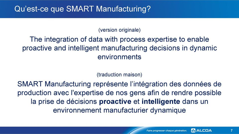 manufacturing decisions in dynamic environments (traduction maison) SMART Manufacturing représente l