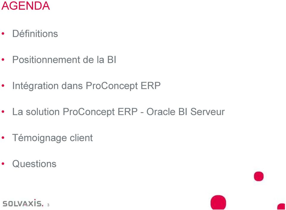 La solution ProConcept ERP - Oracle BI