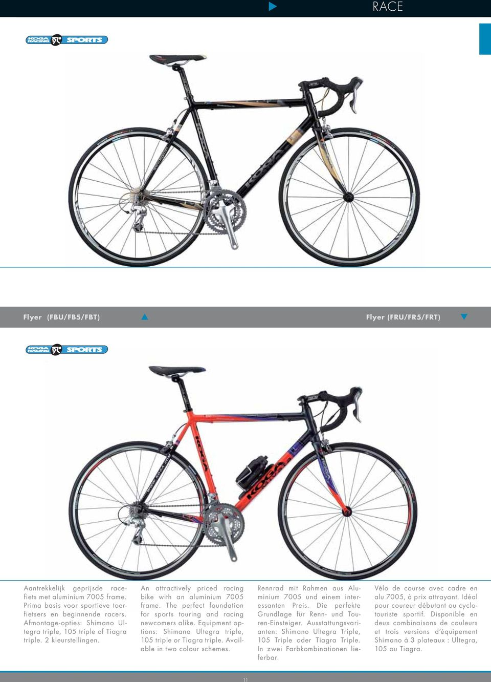 The perfect foundation for sports touring and racing newcomers alike. Equipment options: Shimano Ultegra triple, 105 triple or Tiagra triple. Available in two colour schemes.
