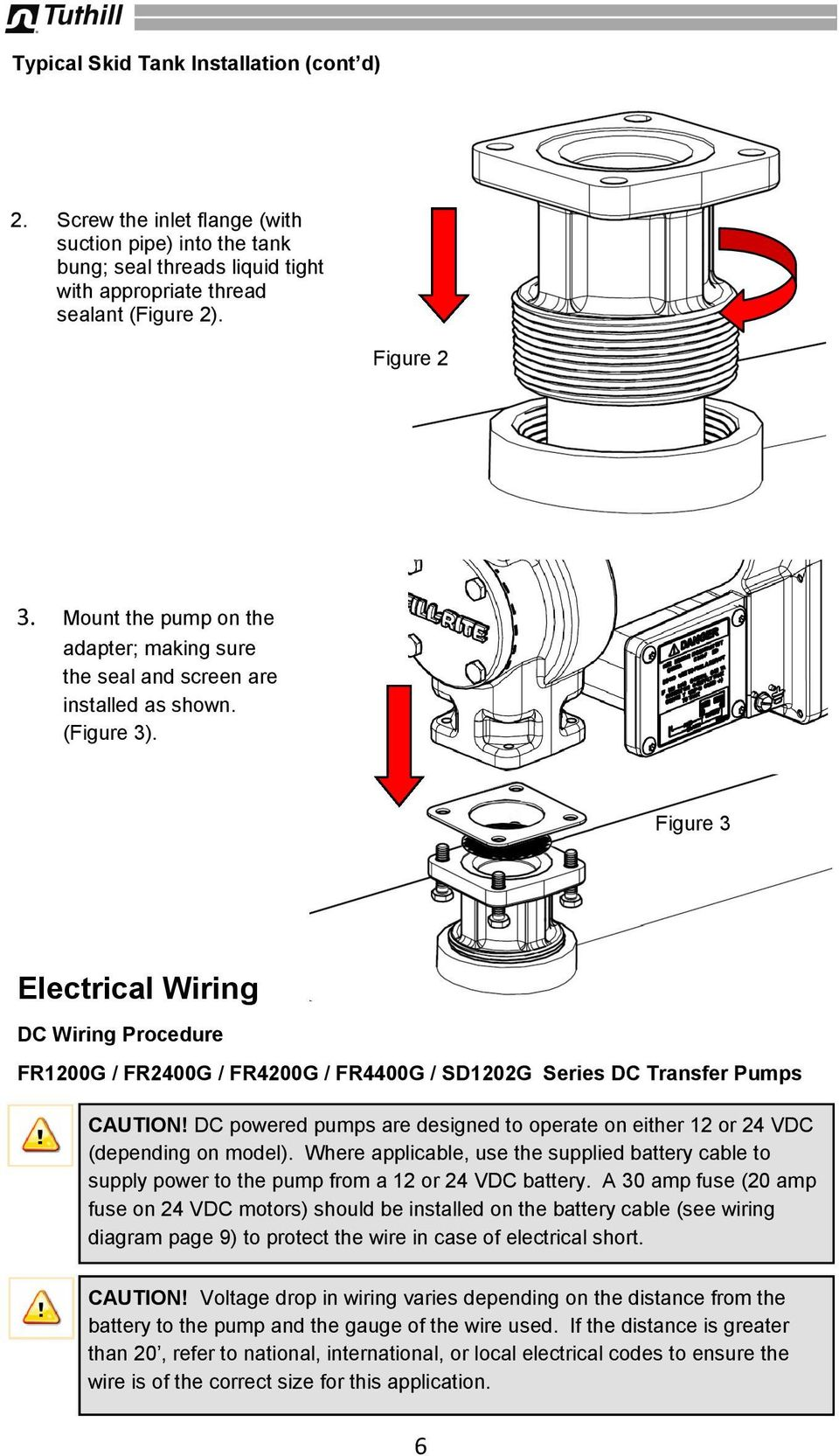 Figure 3 Electrical Wiring DC Wiring Procedure FR1200G / FR2400G / FR4200G / FR4400G / SD1202G Series DC Transfer Pumps CAUTION!