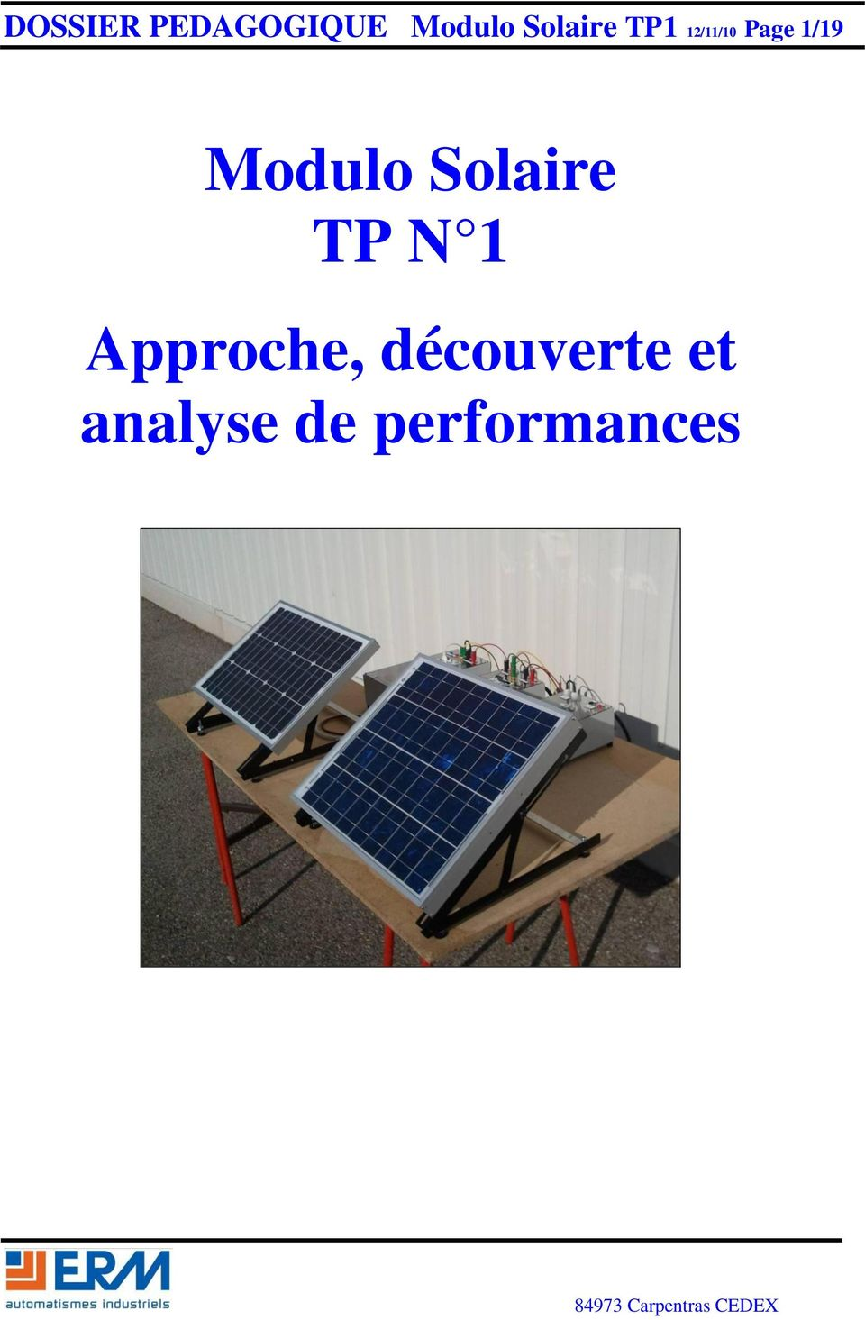 Modulo Solaire TP N 1 Approche,