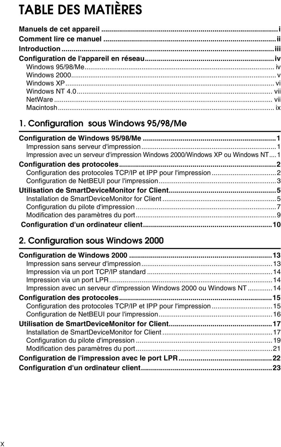 ..1 Impression avec un serveur d'impression Windows 2000/Windows XP ou Windows NT... 1 Configuration des protocoles...2 Configuration des protocoles TCP/IP et IPP pour l'impression.