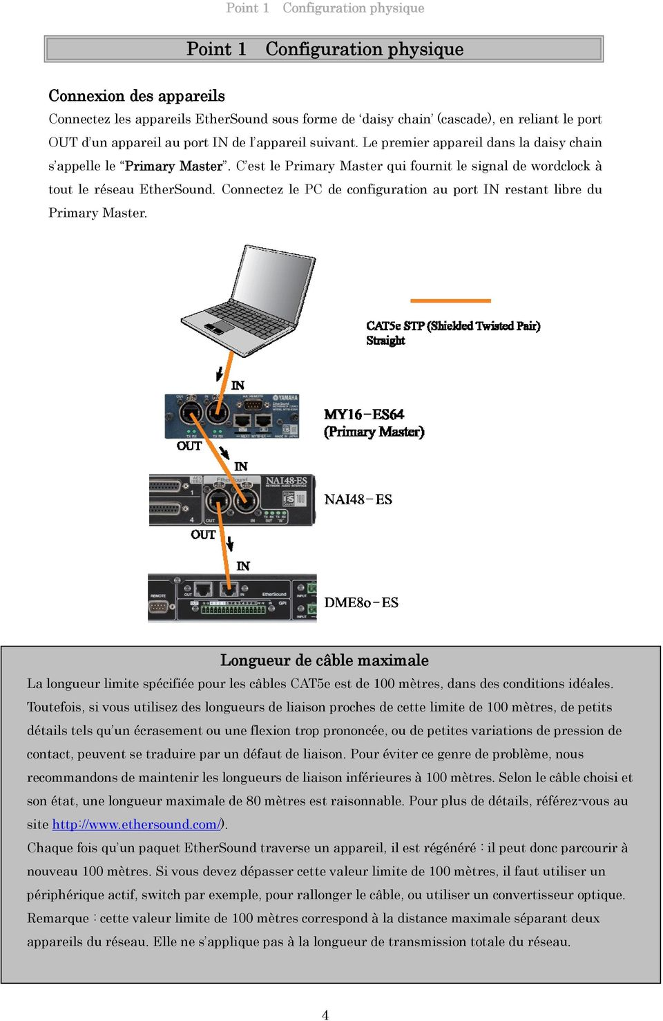 Connectez le PC de configuration au port IN restant libre du Primary Master.