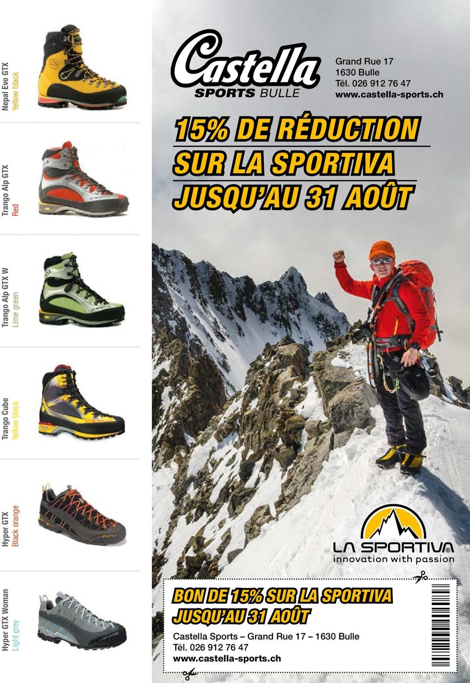 ch 15% DE RÉDUCTION SUR LA SPORTIVA JUSQU AU 31 AOÛT Hyper GTX Black orange Hyper GTX Woman Light grey