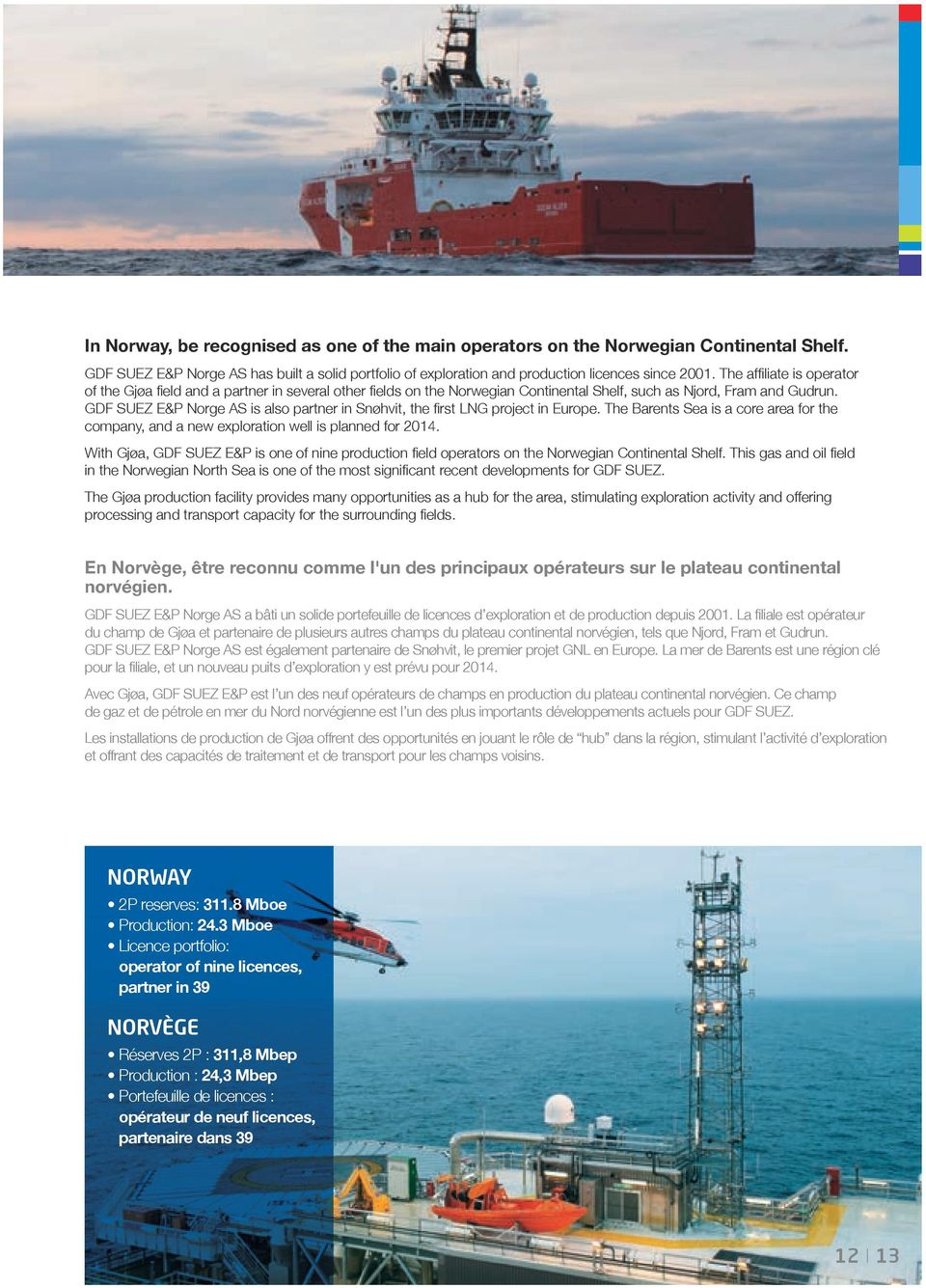 GDF SUEZ E&P Norge AS is also partner in Snøhvit, the first LNG project in Europe. The Barents Sea is a core area for the company, and a new exploration well is planned for 2014.