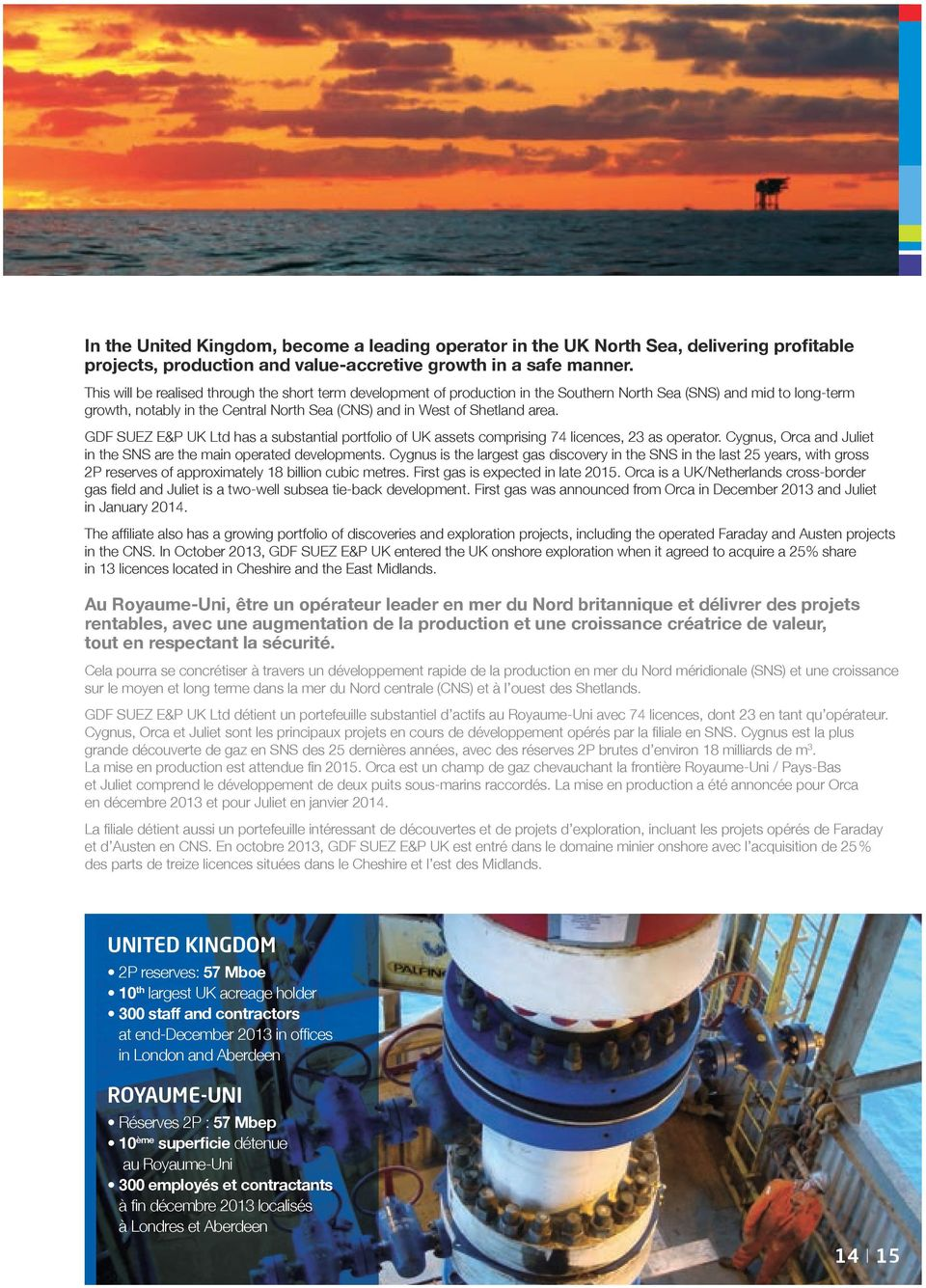 GDF SUEZ E&P UK Ltd has a substantial portfolio of UK assets comprising 74 licences, 23 as operator. Cygnus, Orca and Juliet in the SNS are the main operated developments.