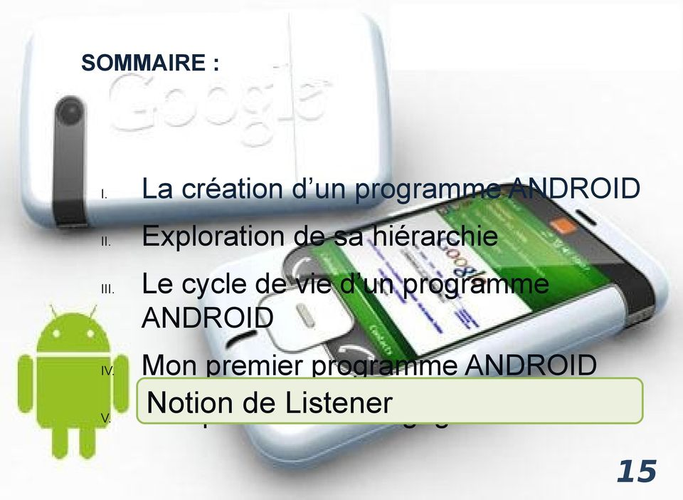 un programme ANDROID IV.
