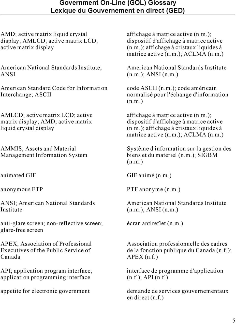 anonymous FTP ANSI; American National Standards Institute anti-glare screen; non-reflective screen; glare-free screen APEX; Association of Professional Executives of the Public Service of Canada API;