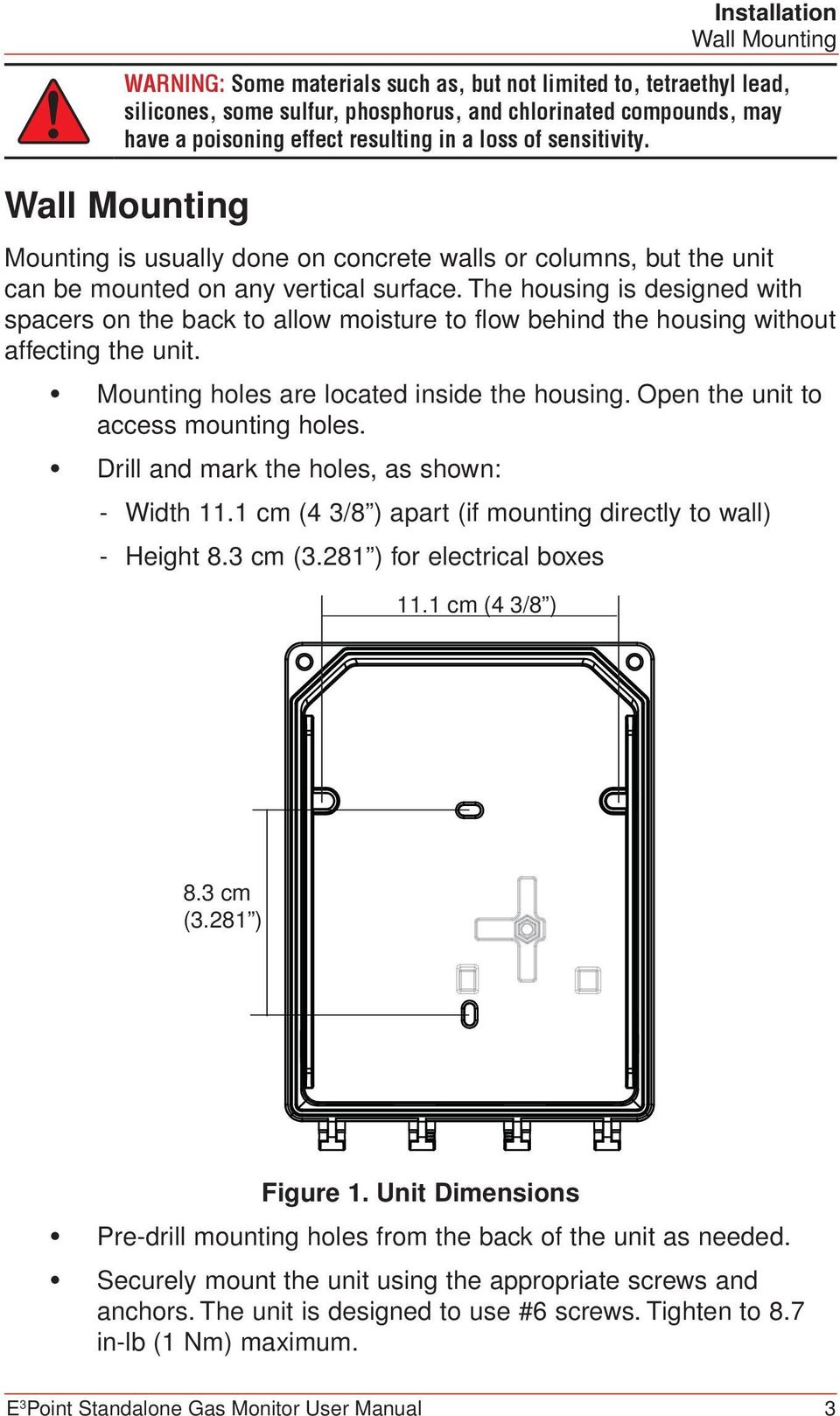 The housing is designed with spacers on the back to allow moisture to flow behind the housing without affecting the unit. Mounting holes are located inside the housing.