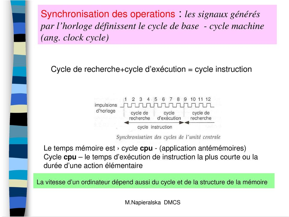clock cycle) Cycle de recherche+cycle d exécution = cycle instruction Le temps mémoire est cycle cpu -