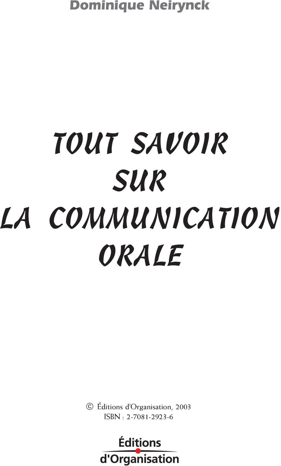 COMMUNICATION ORALE,