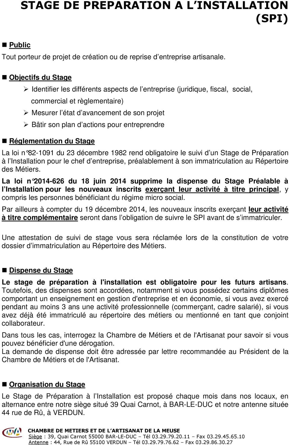 Stage prealable a l installation pdf for Stage creation entreprise chambre des metiers