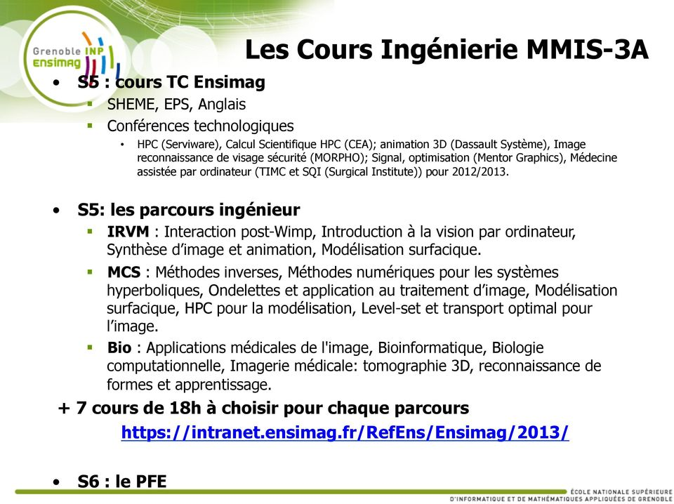 S5: les parcours ingénieur IRVM : Interaction post-wimp, Introduction à la vision par ordinateur, Synthèse d image et animation, Modélisation surfacique.