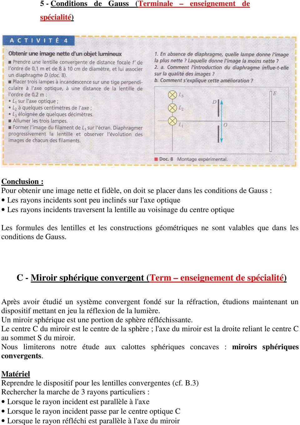 conditions de Gauss.