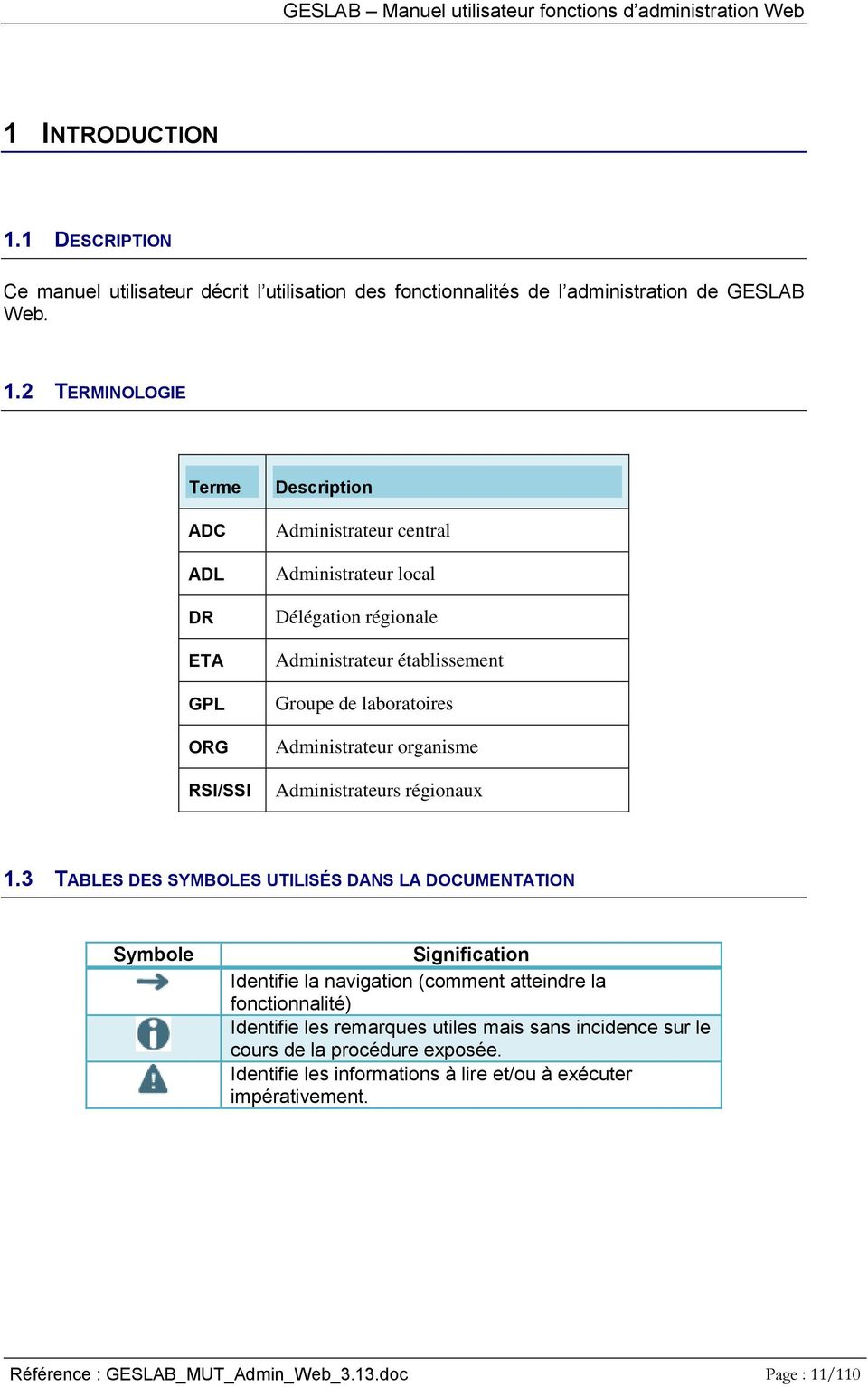 2 TERMINOLOGIE Terme ADC ADL DR ETA GPL ORG RSI/SSI Description Administrateur central Administrateur local Délégation régionale Administrateur établissement Groupe de