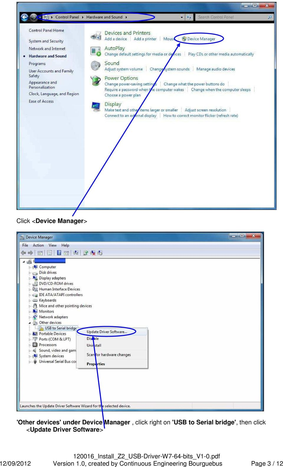 click <Update Driver Software> 12/09/2012 Version 1.