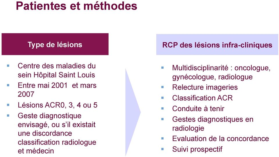 discordance classification radiologue et médecin Multidisciplinarité : oncologue, gynécologue, radiologue Relecture