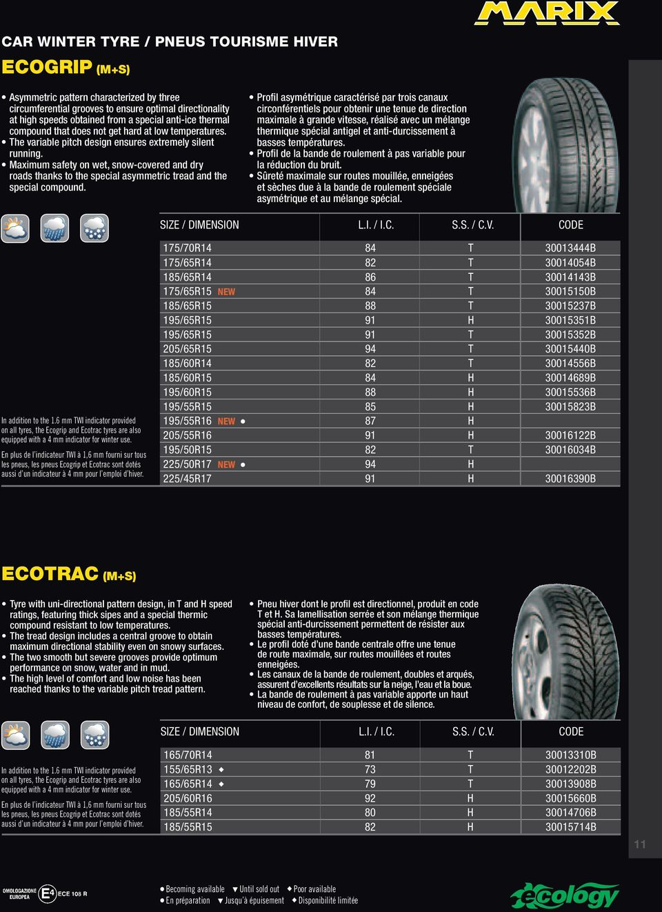 Maximum safety on wet, snow-covered and dry roads thanks to the special asymmetric tread and the special compound.