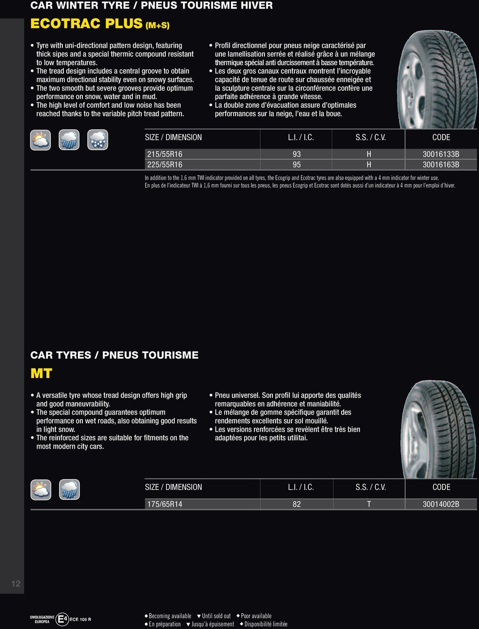 The high level of comfort and low noise has been reached thanks to the variable pitch tread pattern.