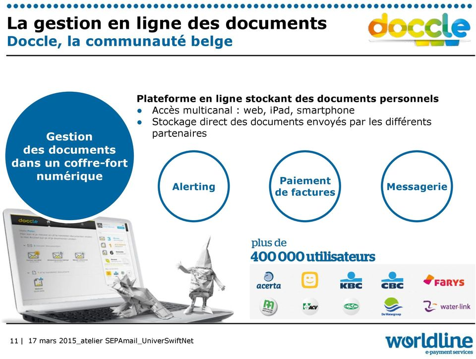 documents personnels Accès multicanal : web, ipad, smartphone Stockage direct