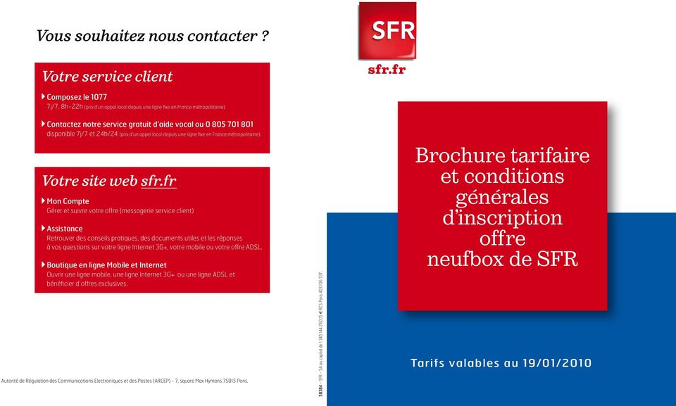 brochure tarifaire et conditions g n rales d inscription offre neufbox de sfr pdf. Black Bedroom Furniture Sets. Home Design Ideas