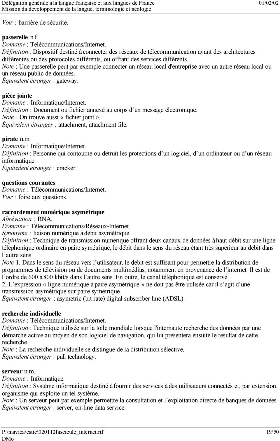 Vocabulaire de l internet et de l informatique pdf for Passerelle definition