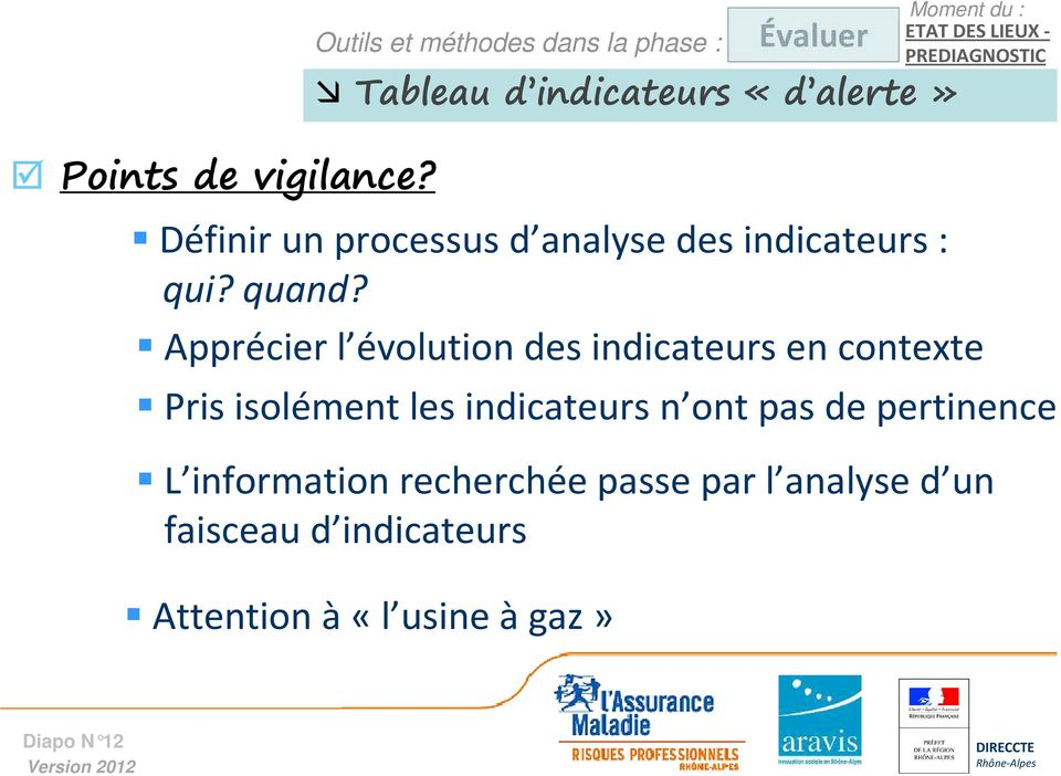 PREDIAGNOSTIC Définir un processus d analyse des indicateurs : qui? quand?