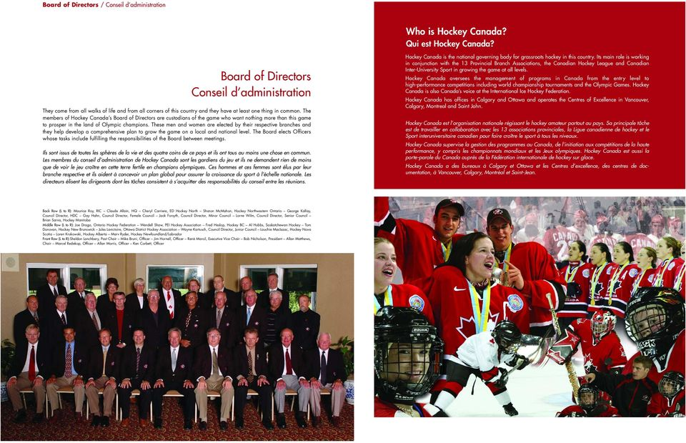 The members of Hockey Canada s Board of Directors are custodians of the game who want nothing more than this game to prosper in the land of Olympic champions.