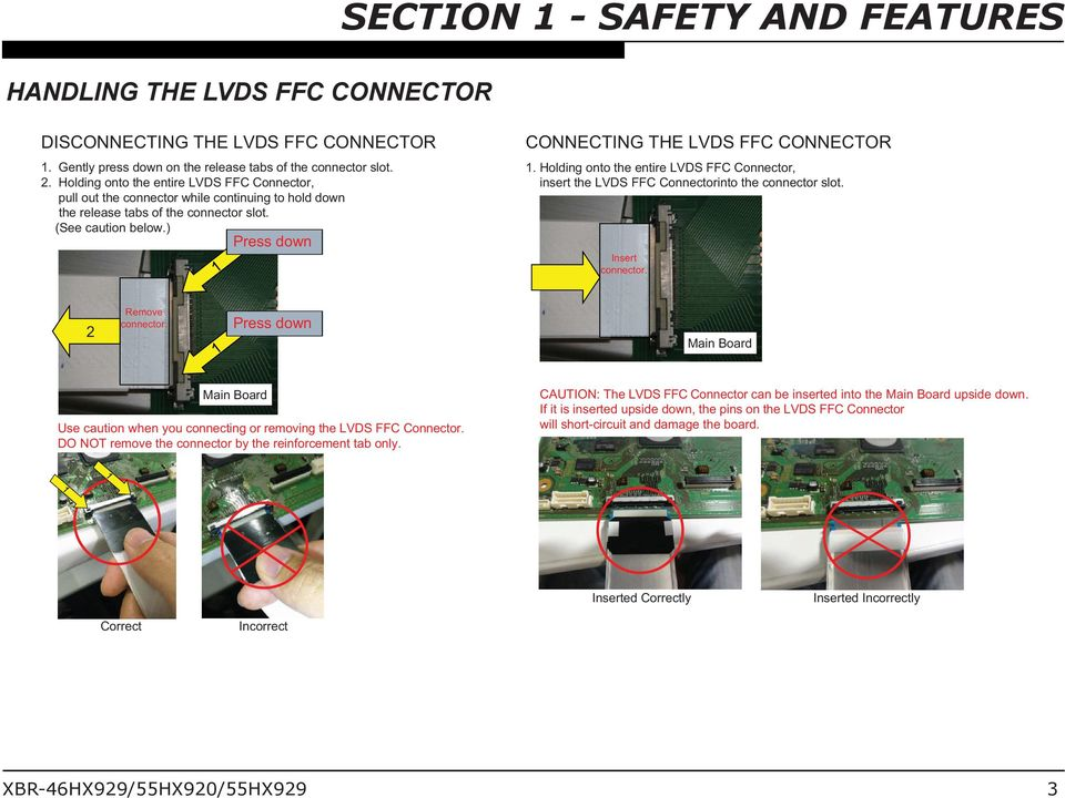) Press down CONNECTING THE LVDS FFC CONNECTOR 1. Holding onto the entire LVDS FFC Connector, insert the LVDS FFC Connectorinto the connector slot. Insert connector. 2 Remove connector.