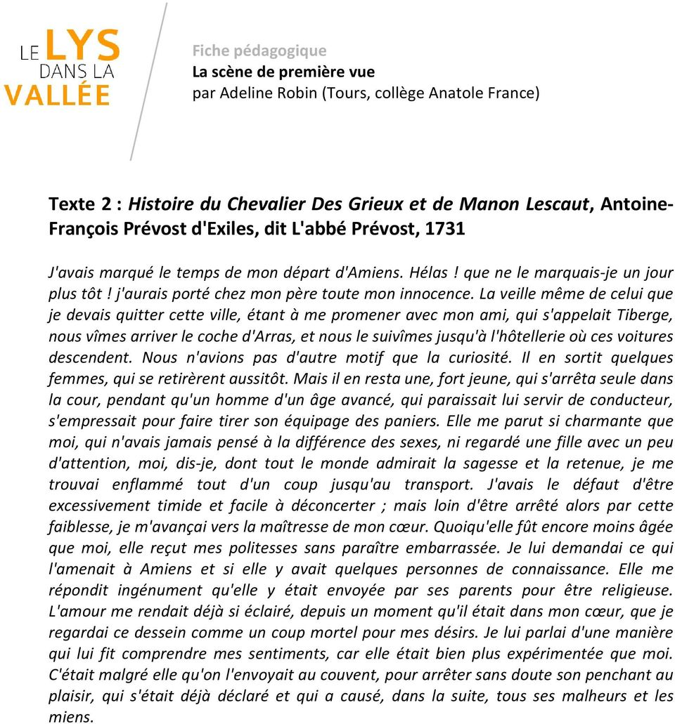 lecture analytique manon lescaut la rencontre