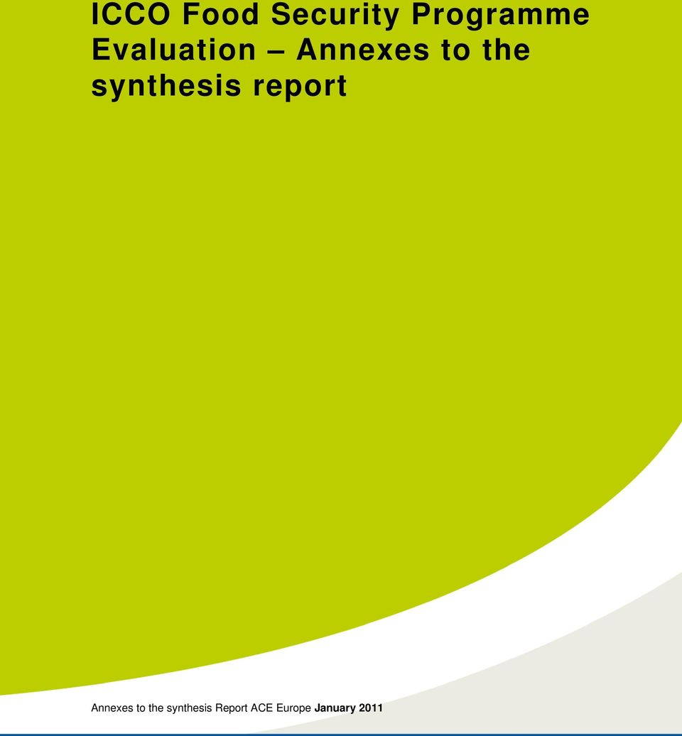 synthesis report Annexes to the