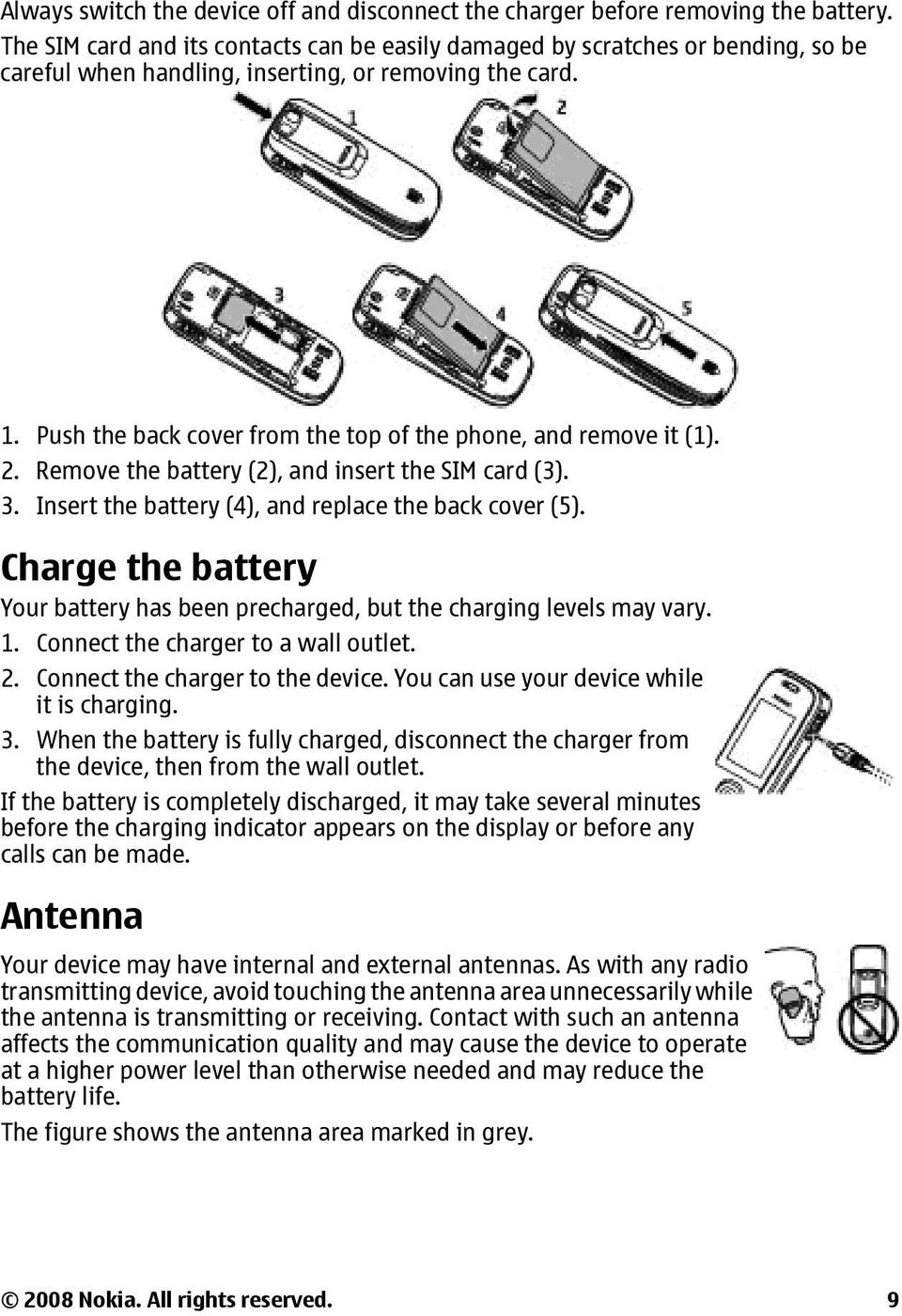 Push the back cover from the top of the phone, and remove it (1). 2. Remove the battery (2), and insert the SIM card (3). 3. Insert the battery (4), and replace the back cover (5).