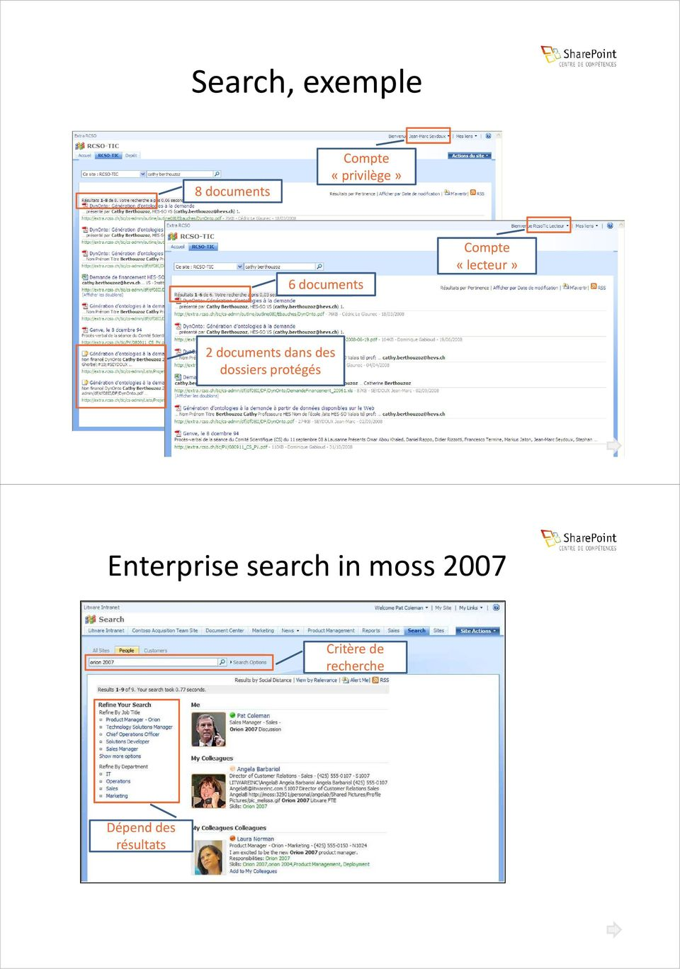 des dossiers protégés Enterprise search in