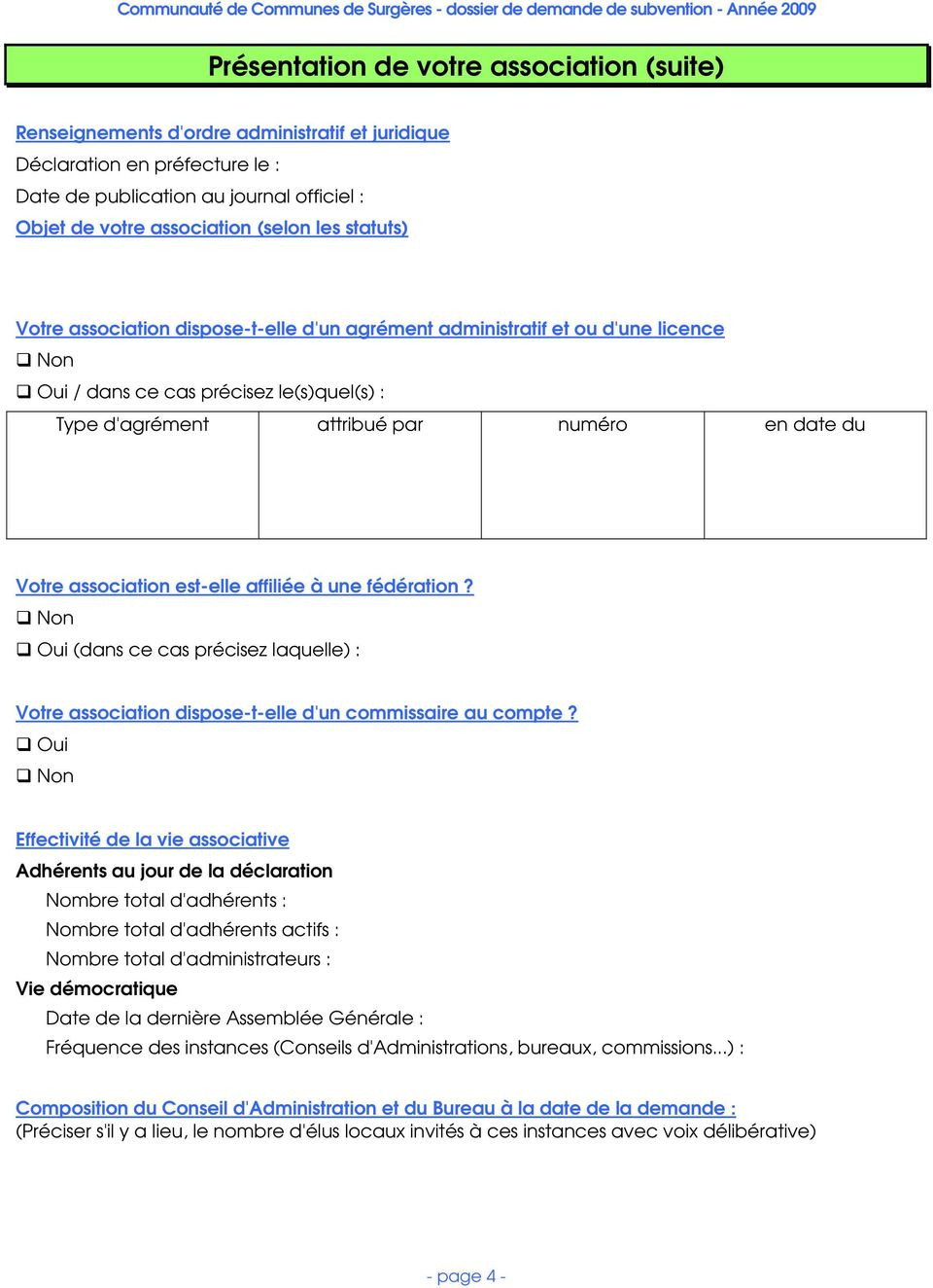 Dossier de demande de subvention association loi 1901 - Composition bureau association loi 1901 ...