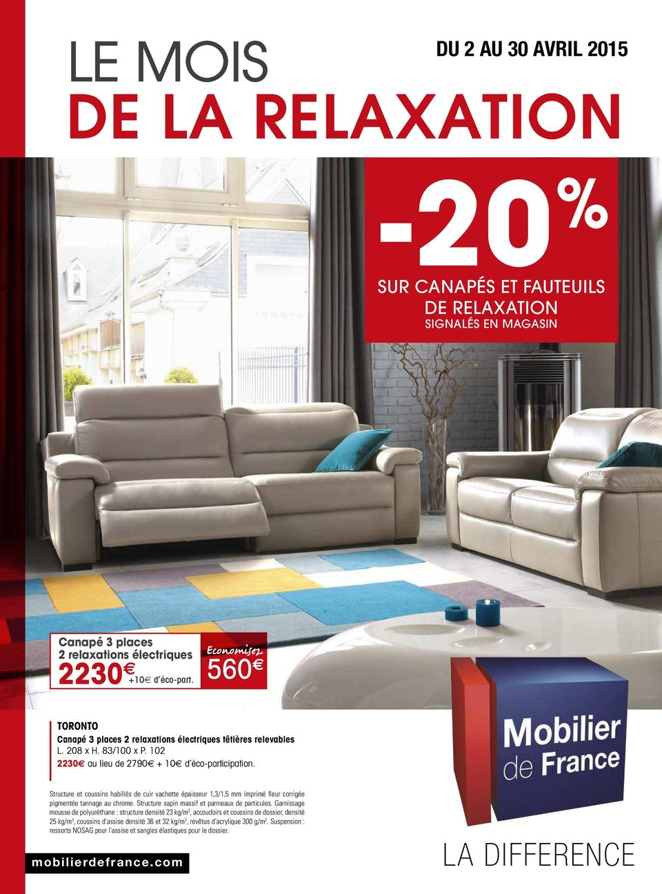 20 de la relaxation le mois la difference du 2 au 30 avril 2015 sur canap s et fauteuils de. Black Bedroom Furniture Sets. Home Design Ideas