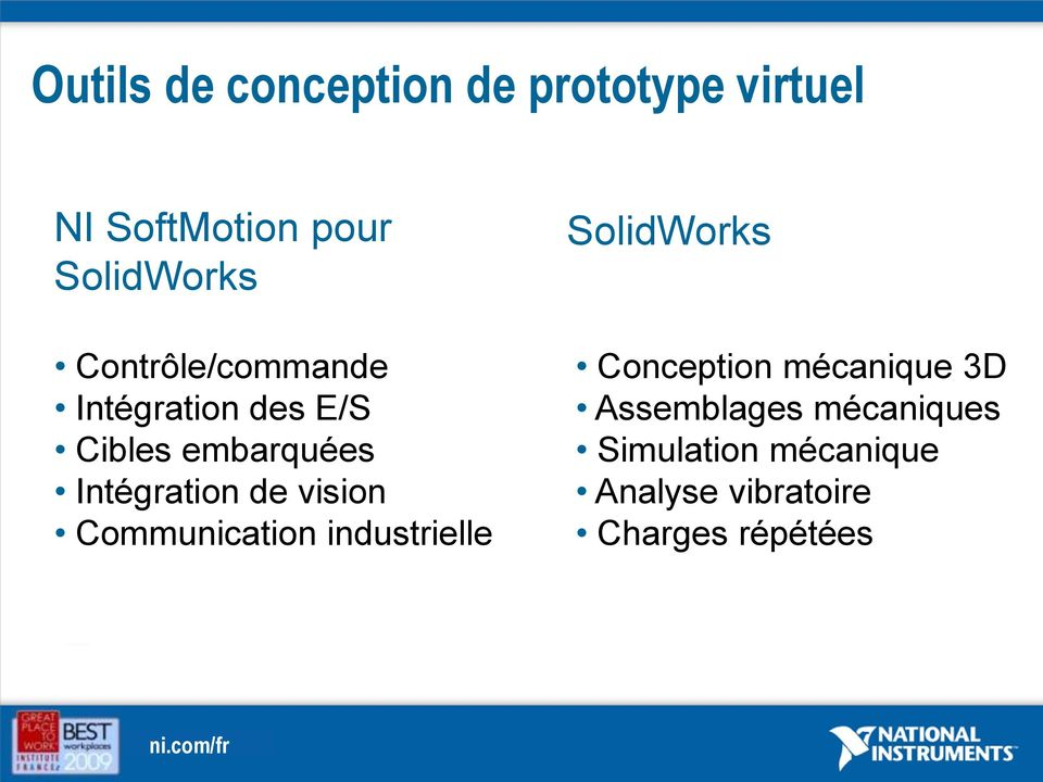 vision Communication industrielle SolidWorks Conception mécanique 3D