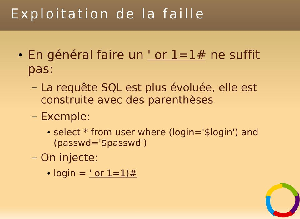 construite avec des parenthèses Exemple: select * from user where