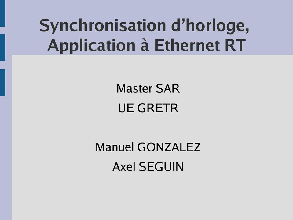 Ethernet RT Master SAR