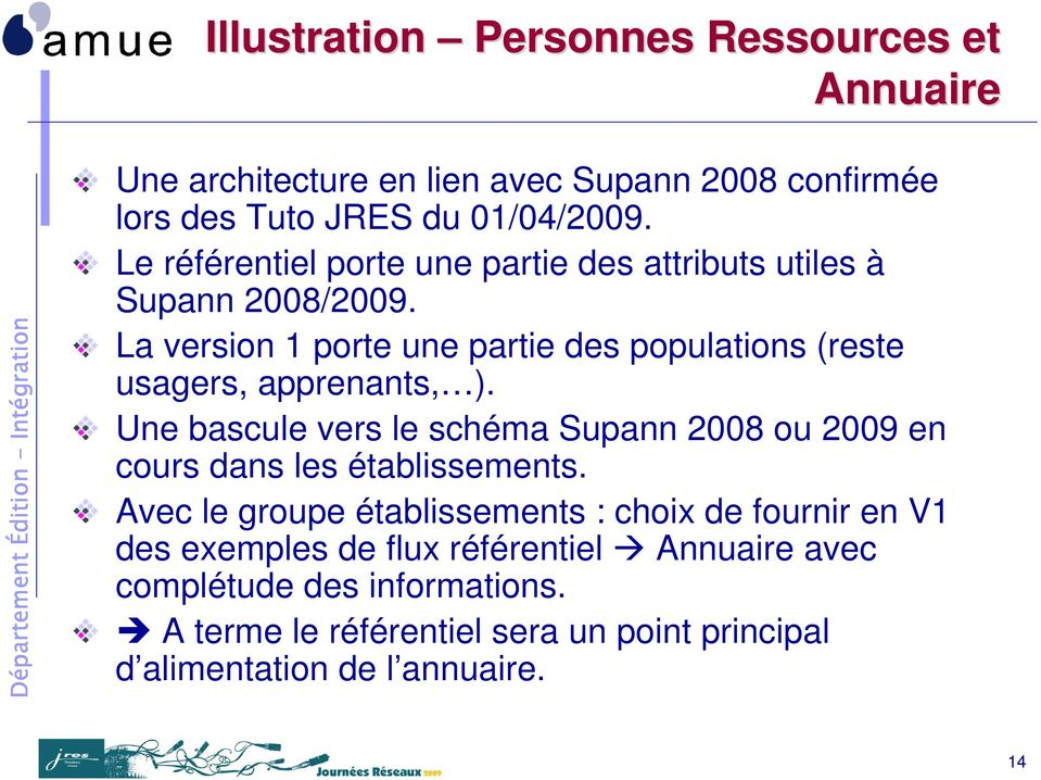 La version 1 porte une partie des populations (reste usagers, apprenants, ).