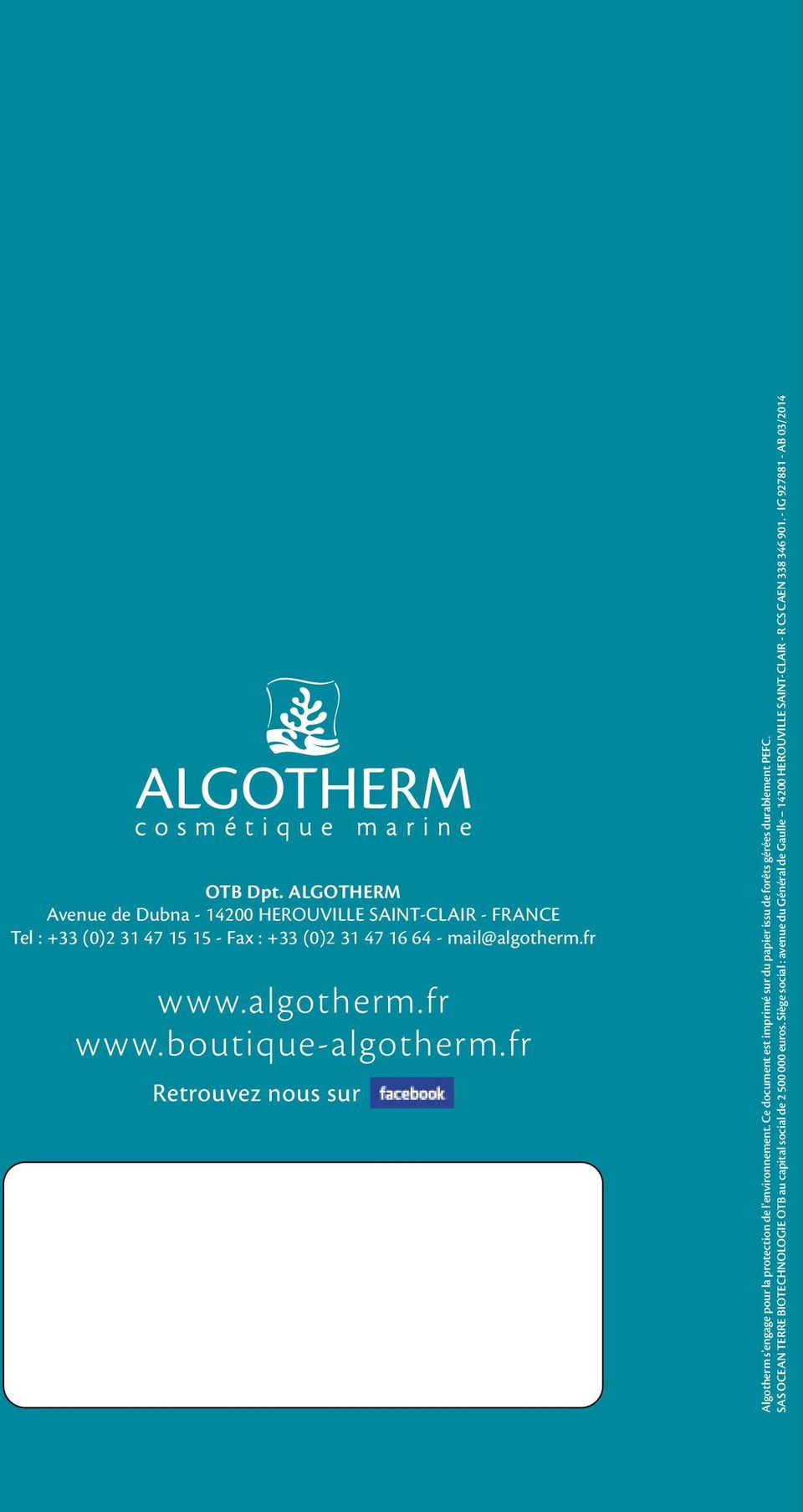 mail@algotherm.fr www.algotherm.fr www.boutique-algotherm.