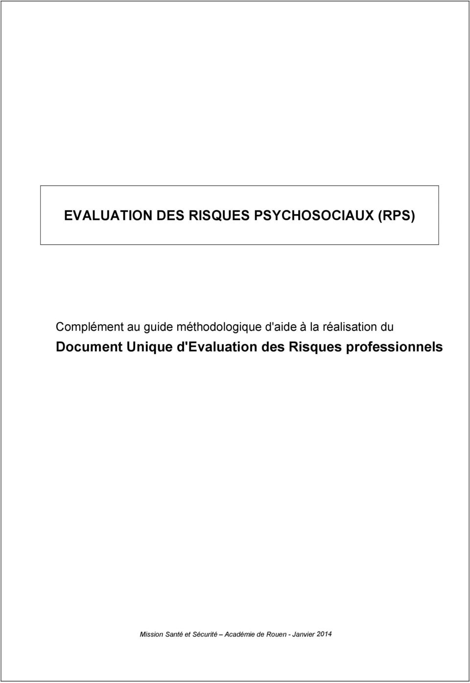 Document Unique d'evaluation des Risques
