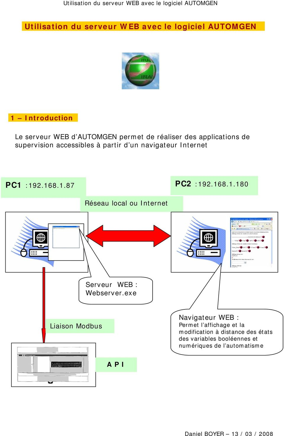168.1.180 Réseau local ou Internet Serveur WEB : Webserver.