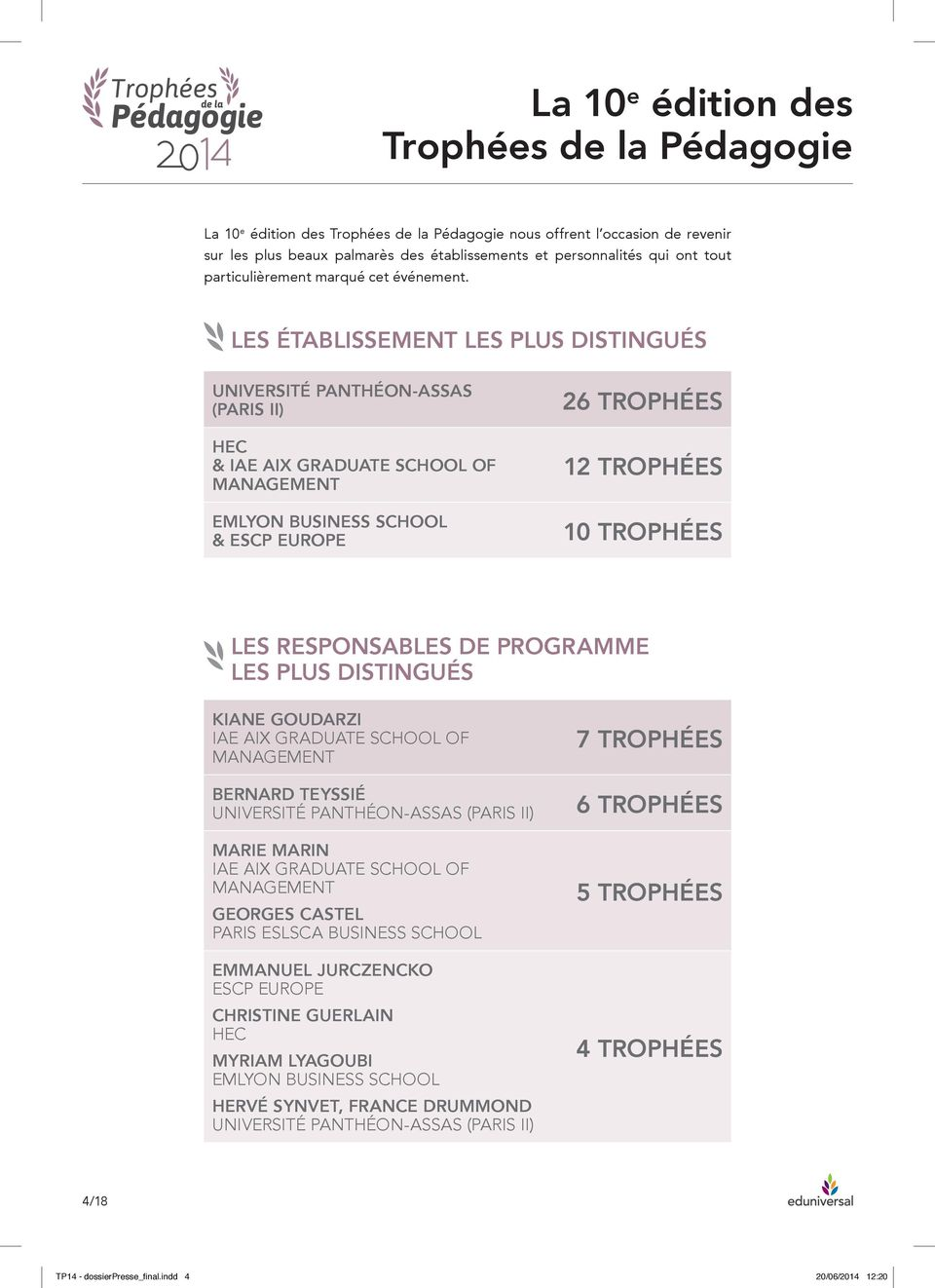 LES ÉTABLISSEMENT LES PLUS DISTINGUÉS UNIVERSITÉ PANTHÉON-ASSAS (PARIS II) HEC & IAE AIX GRADUATE SCHOOL OF MANAGEMENT EMLYON BUSINESS SCHOOL & ESCP EUROPE 26 TROPHÉES 12 TROPHÉES 10 TROPHÉES LES