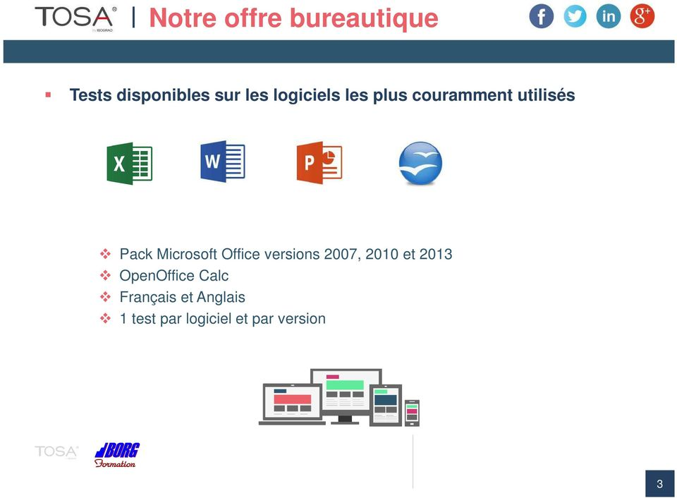Microsoft Office versions 2007, 2010 et 2013