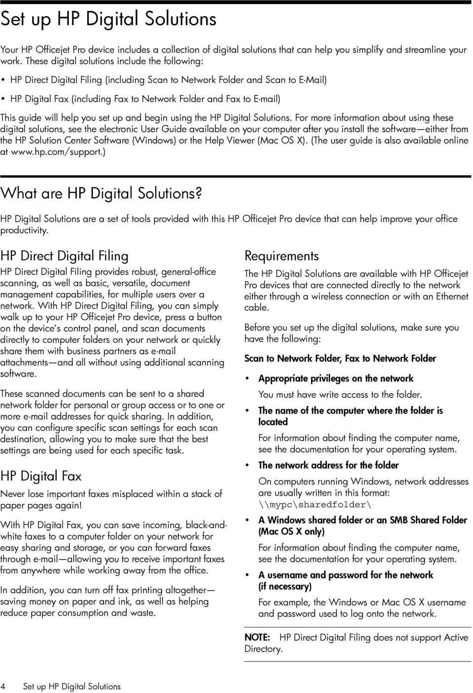 guide will help you set up and begin using the HP Digital Solutions.
