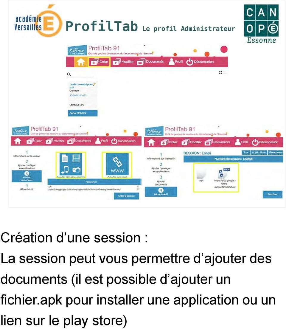 documents (il est possible d ajouter un fichier.