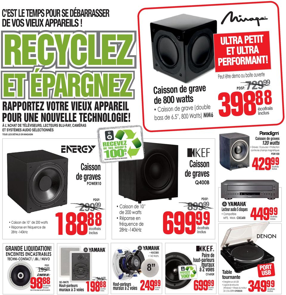 5, 800 Watts) MM6 Caisson de graves Q400B ULTRA PETIT ET ULTRA PERFORMANT!