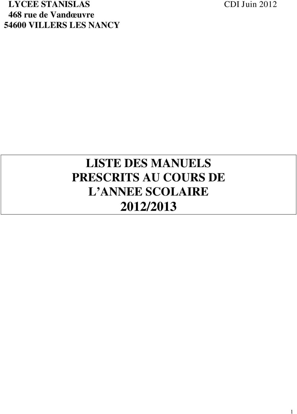 NANCY LISTE DES MANUELS PRESCRITS